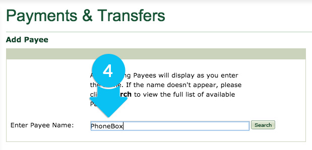Enter PHONEBOX into Payee